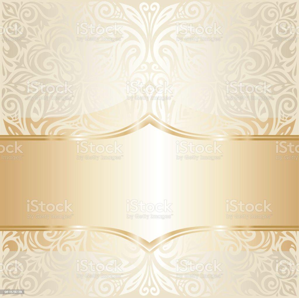 Floral Wedding Invitation Wallpaper Design In Ecru Gold Stock Vector ...