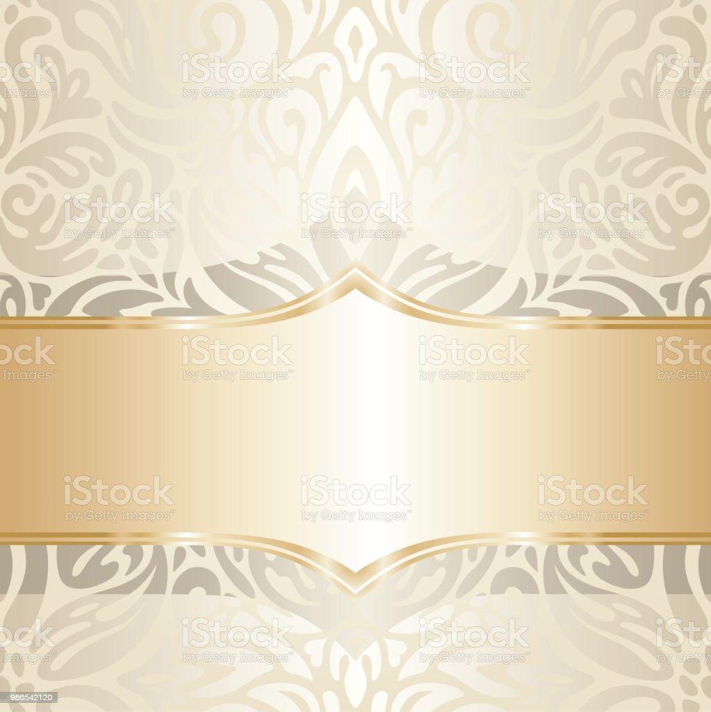 Floral Wedding Invitation Wallpaper Trend Design In Ecru Gold Gentle ...