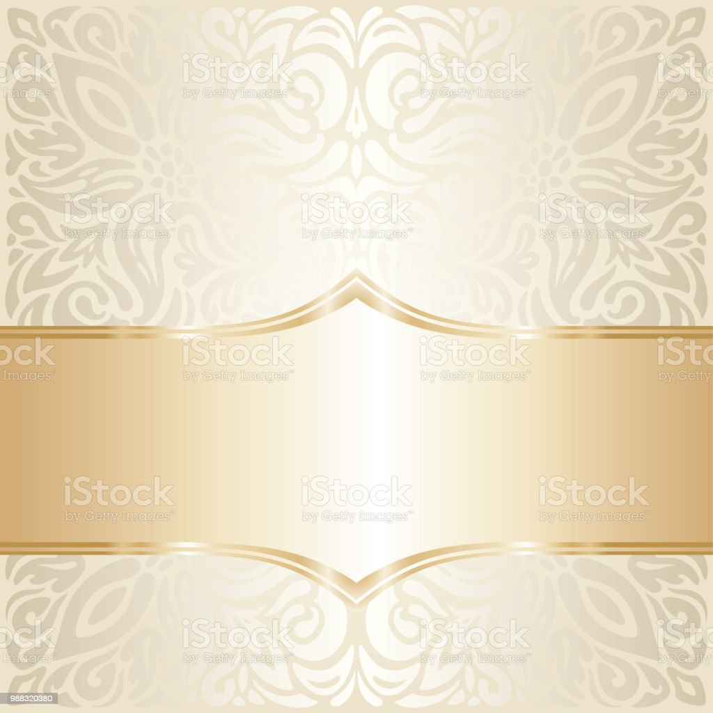 Floral Wedding Invitation Wallpaper Trend Design In Ecru Gold
