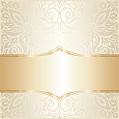 Floral wedding invitation wallpaper trend design in ecru & gold, with blank space gentle shiny mandala