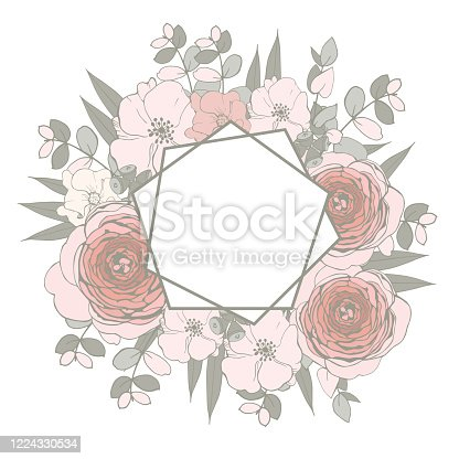 istock Floral Wedding Invitation with pink flowers and  eucalyptus leaves. 1224330534