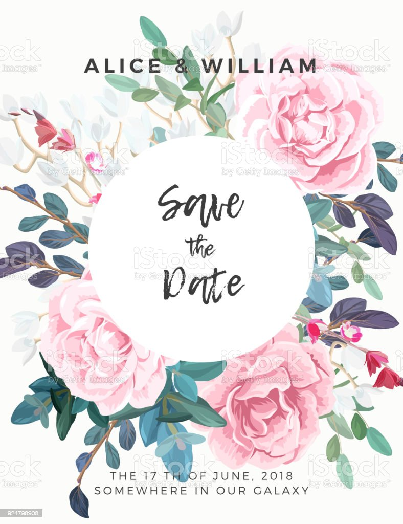 Floral wedding invitation with pink roses botanical rsvp card floral wedding invitation with pink roses botanical rsvp card template hant drawn vector illustration stopboris Images