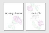 Floral wedding invitation with watercolour pink peonies. Vector template for cover and information