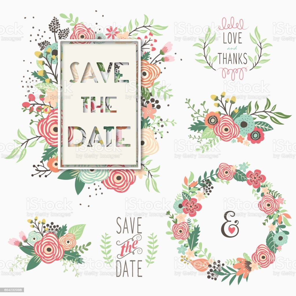 Floral Wedding Set vector art illustration