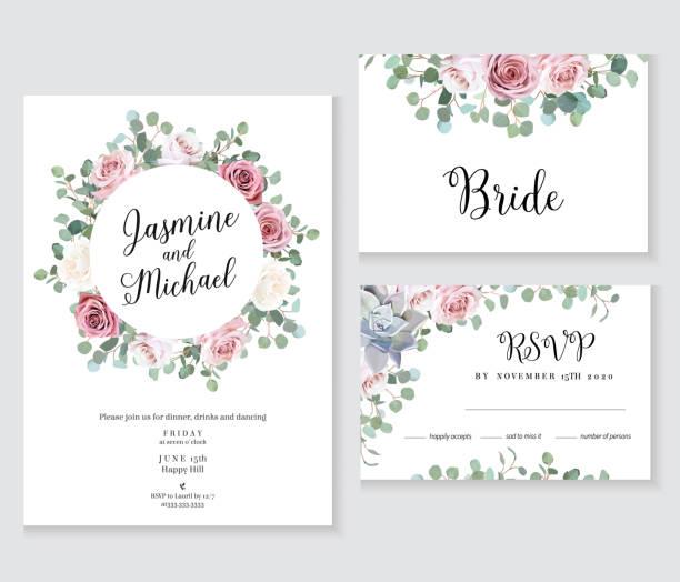 花婚禮向量框。手繪淺粉色玫瑰, 桉樹枝 - 淺粉色 幅插畫檔、美工圖案、卡通及圖標