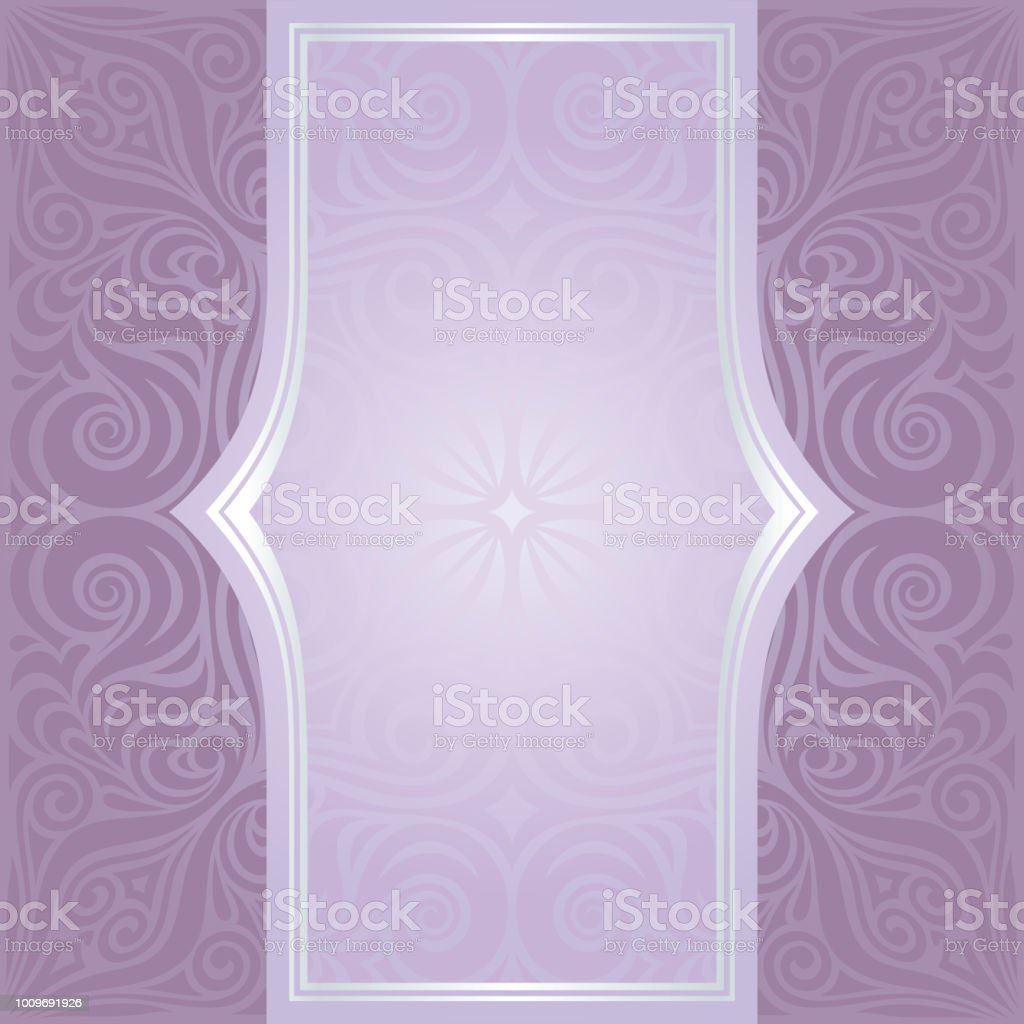 Floral Wedding Violet Vector Background Invitation Mandala Design With Silver Copy Space Royalty Free