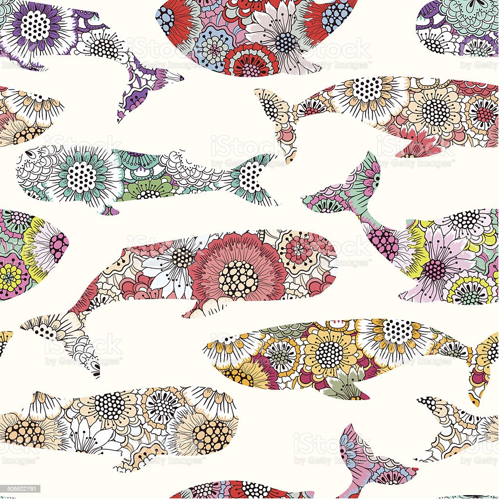 Floral whales seamless pattern vector art illustration