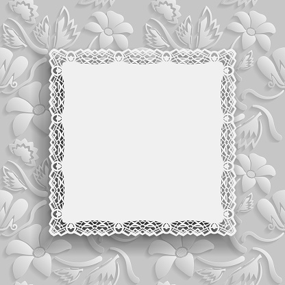 Floral white  background  and  beautiful frame with an lace border on the edge on white backdrop for greeting card, can be used as a template for a banner. Space for text, paper cut out, vector illustration.