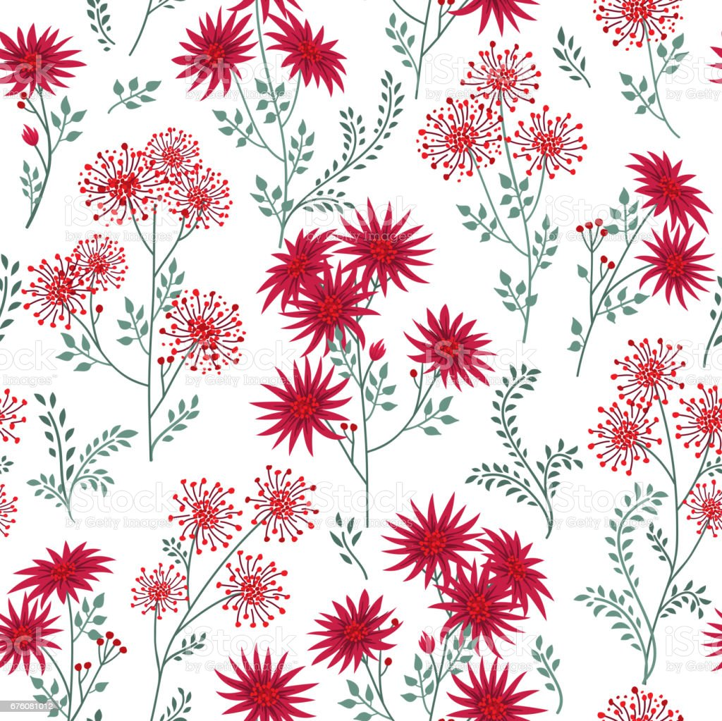 Floral White Winter Pattern Leaves And Flowers Nature Herb Bac Stock