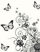 Floral with butterfly background.Color as you wish.All elements are individual objects arranged on clearly labeled layers, global colors used. Hi res jpeg included. Click on my portfolio to see more of my illustrations.