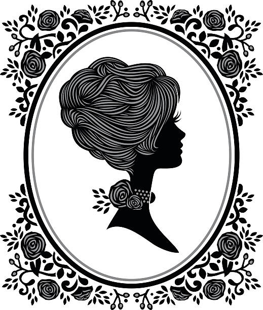 floral woman cameo - heyheydesigns stock illustrations