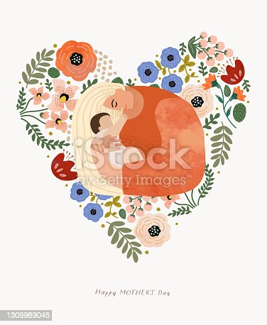 istock Floral. Woman with flower bouquet. Vector watercolor illustration of a girl holding flowers, plants and leaves. Greeting card for congratulations on mother's day, birthday and women's day 1309989045