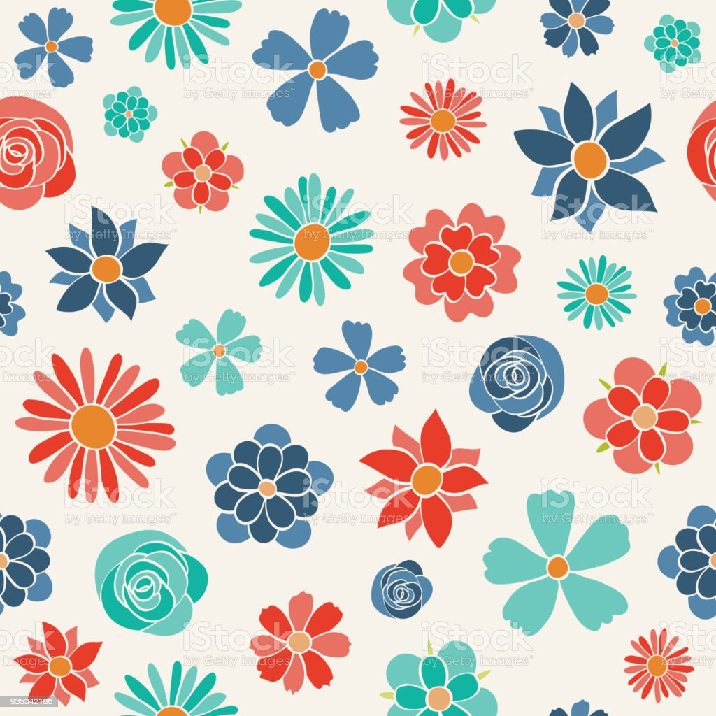 Floral Wrapping Paper With Cute Hand Drawn Flowers Spring Background