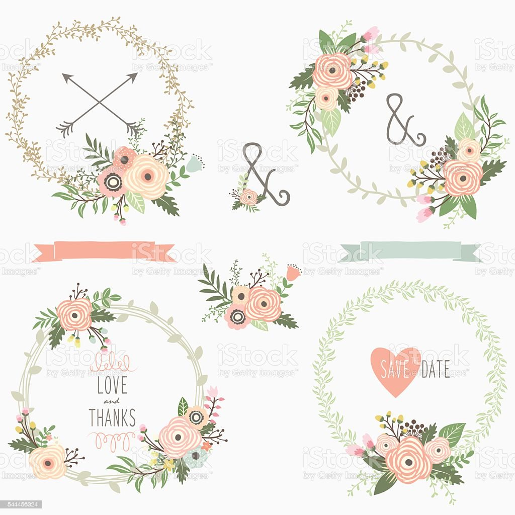 Floral Wreath Collections- illustration vector art illustration