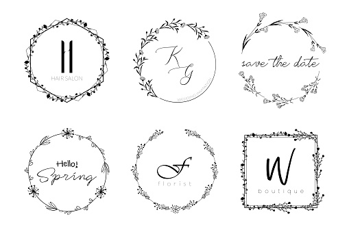 Floral wreath minimal design for wedding invitation or brand logo. Vector template with flourishes ornament elements.