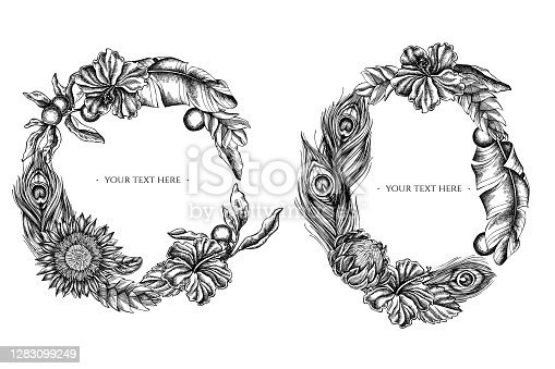 istock Floral Wreath of black and white banana palm leaves, hibiscus, solanum, bromeliad, peacock feathers, protea 1283099249