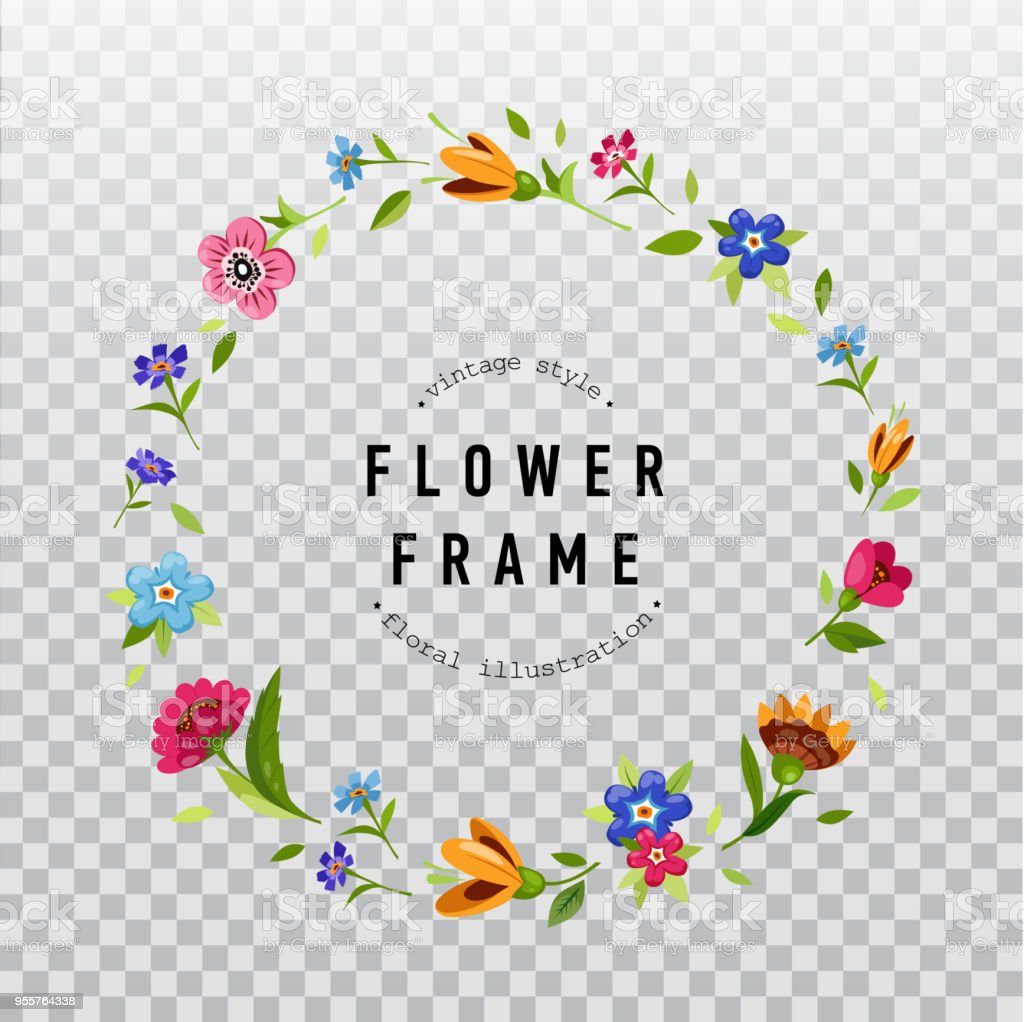 Ilustración De Guirnalda Floral Sobre Fondo Transparente