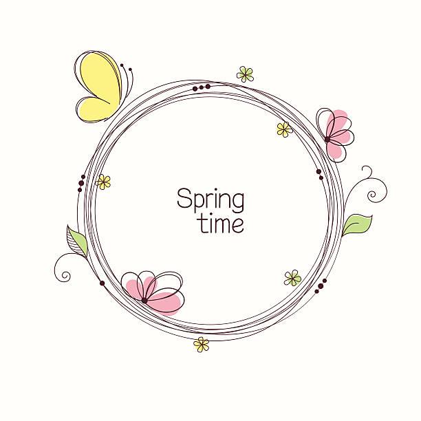 illustrazioni stock, clip art, cartoni animati e icone di tendenza di corona di fiori - farfalla ramo
