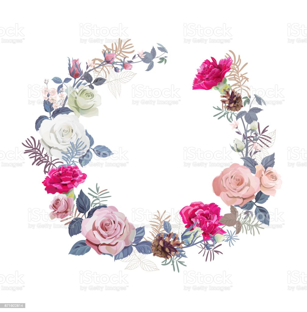 Floral Wreath With Bouquet White Pink Roses Red Carnations Small ...