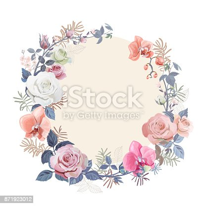 Floral wreath with bouquet white, red rose, pink orchids (flowers, buds, leaves), small autumn twigs asparagus on white background, digital draw illustration for Christmas, template, vector
