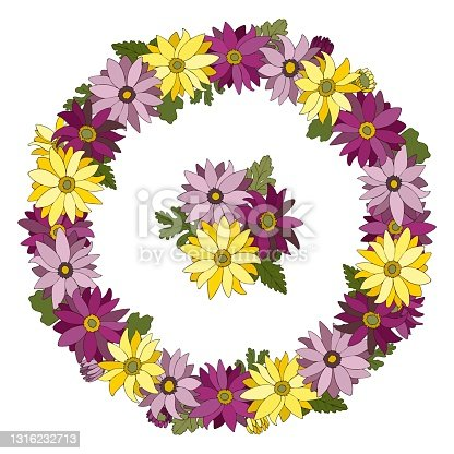 istock Floral wreath with chrysanthemum flowers. Congratulatory template for holiday cards, posters, seasonal invitations. 1316232713
