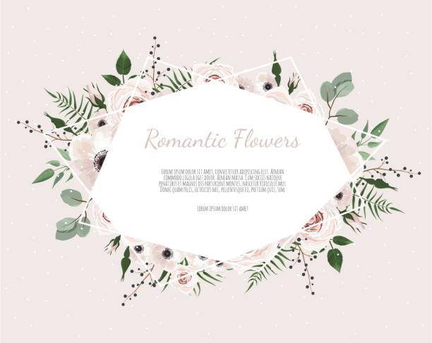 Couronne florale avec des feuilles d'eucalyptus vert, fleur rose, anémone. Bordure de cadre avec copie espace eps10 - Illustration vectorielle