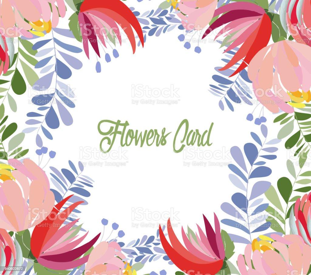 Blumenkranz Mit Fruhlingsblumen Hochzeit Einladungskarte Mit Blume