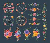 A set of floral wreaths, bouquets, borders and other floral elements, perfect for wedding invitations, greeting cards and other seasonal collaterals. EPS 10 file, layered & grouped.