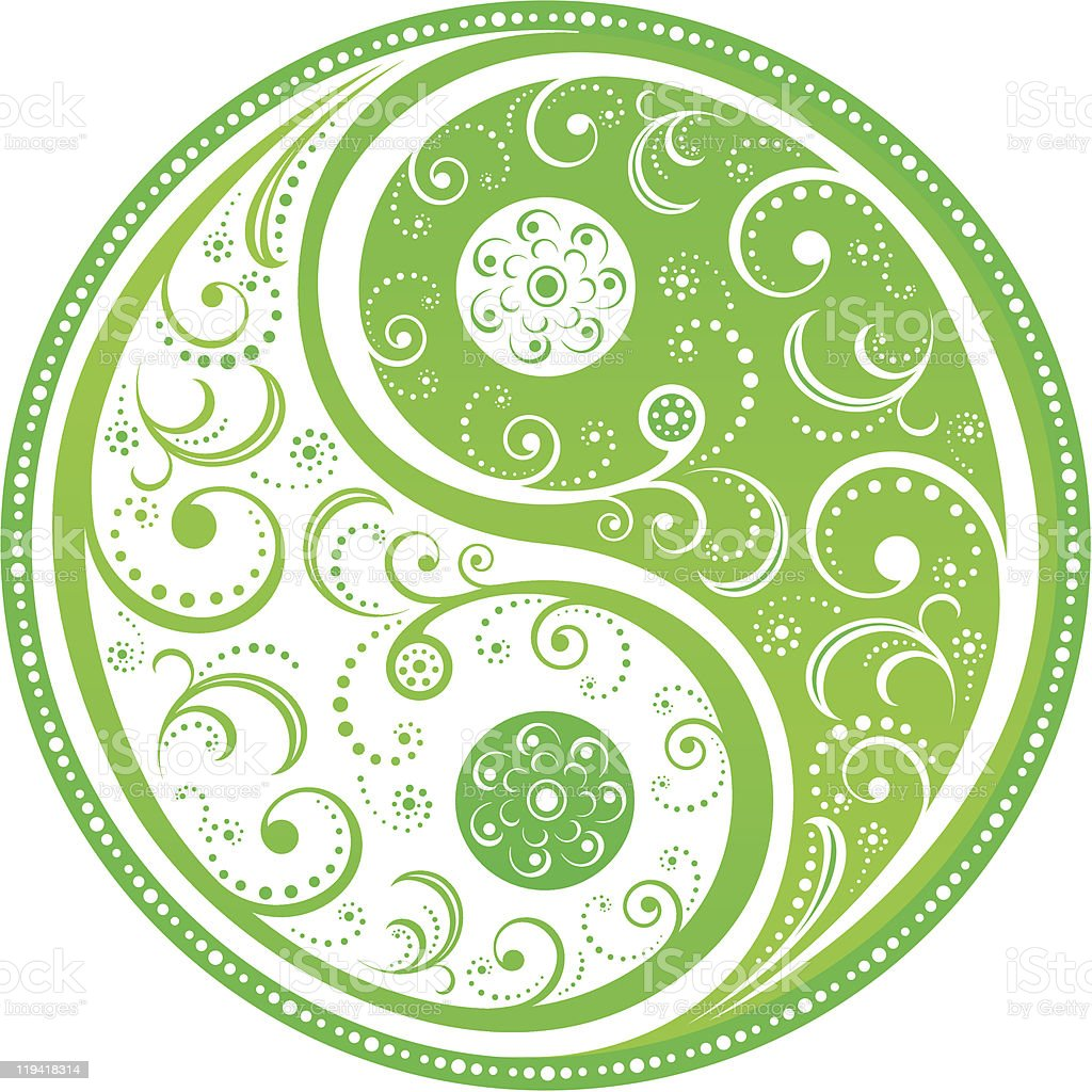 Floral Yin Yang symbol vector art illustration