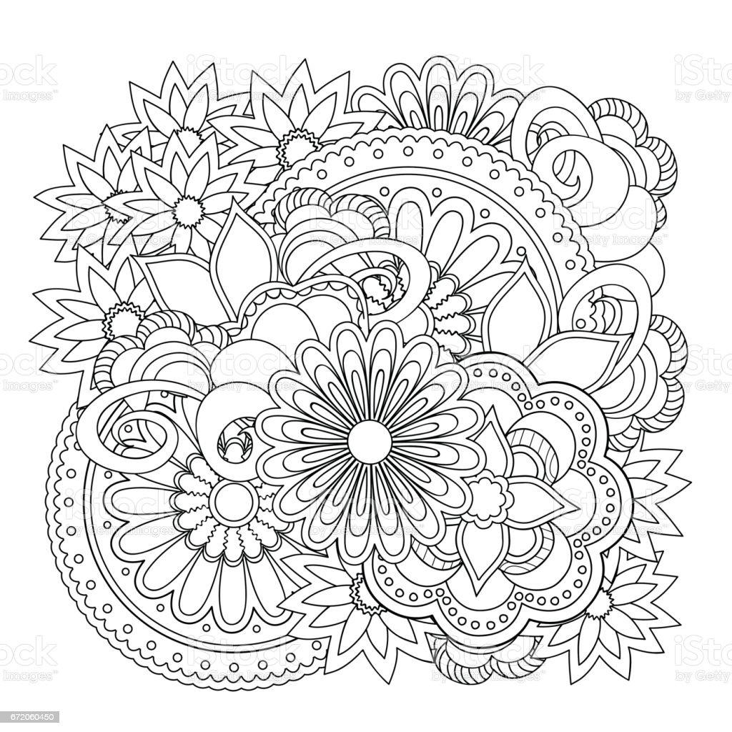 floral zen composition vector art illustration