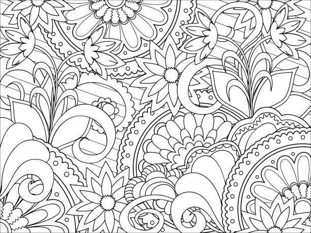 Floral Zen Pattern Vector Art Illustration Children Playing On A Tree Coloring Book Page