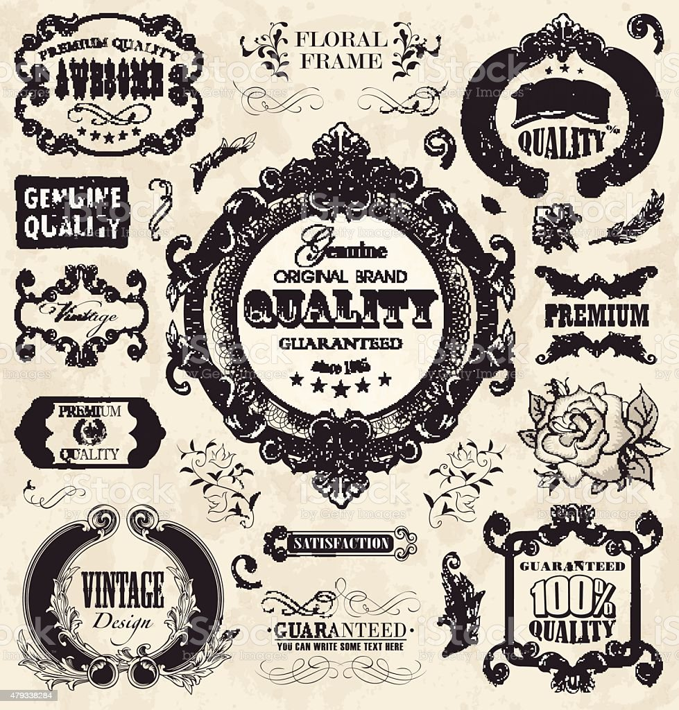 Floral_labels_in_vintage_style vector art illustration