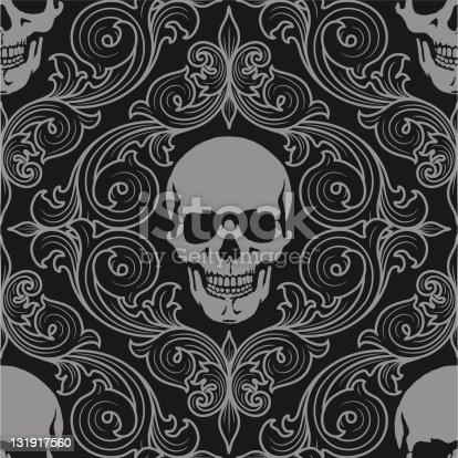 istock florall pattern fith skulls 131917560