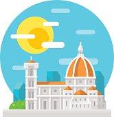 Florence cathedral flat design landmark