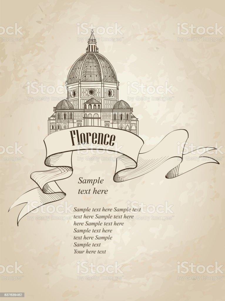 Florence city landmark view. Travel Italy background. vector art illustration