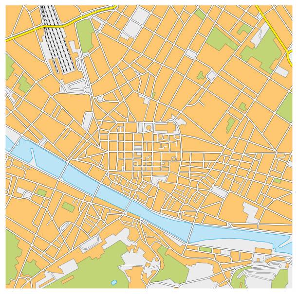 illustrazioni stock, clip art, cartoni animati e icone di tendenza di florence city map - firenze