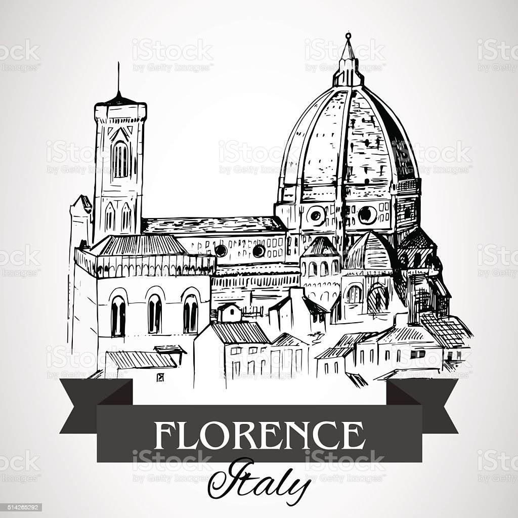 Florence Duomo - Florence Cathedral vector art illustration