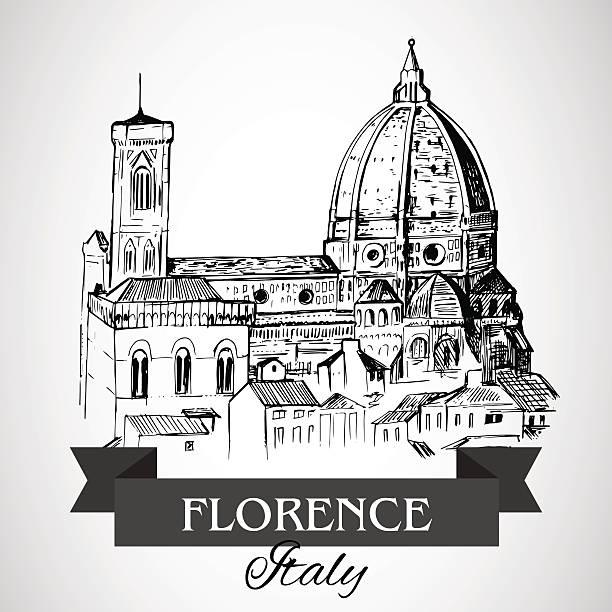 illustrazioni stock, clip art, cartoni animati e icone di tendenza di firenze-cattedrale duomo di firenze - firenze