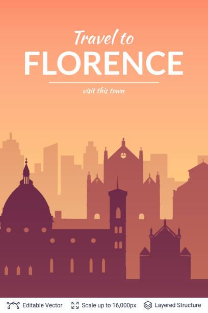 illustrazioni stock, clip art, cartoni animati e icone di tendenza di florence famous city scape. - firenze