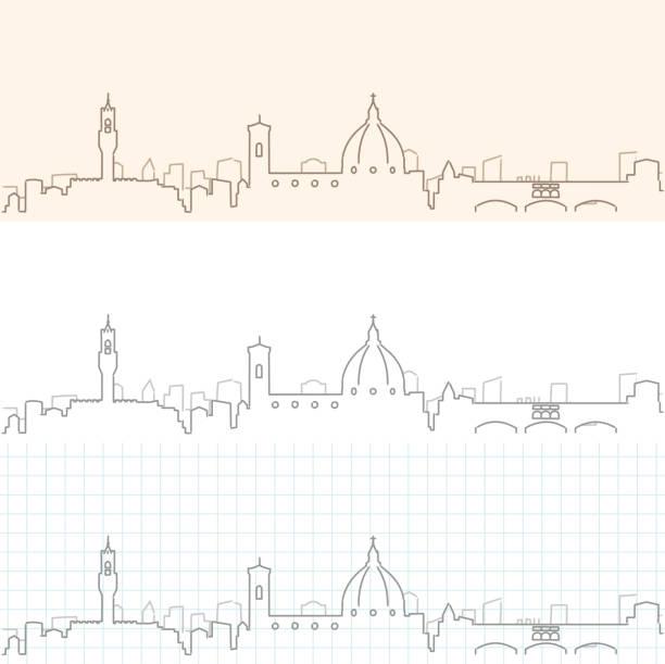 illustrazioni stock, clip art, cartoni animati e icone di tendenza di florence hand drawn skyline - firenze
