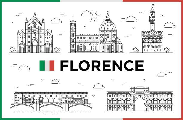 illustrazioni stock, clip art, cartoni animati e icone di tendenza di florence, italy, buildings and city sights. vector illustration - firenze