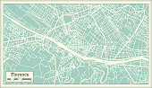 Florence Italy City Map in Retro Style. Outline Map. Vector Illustration.