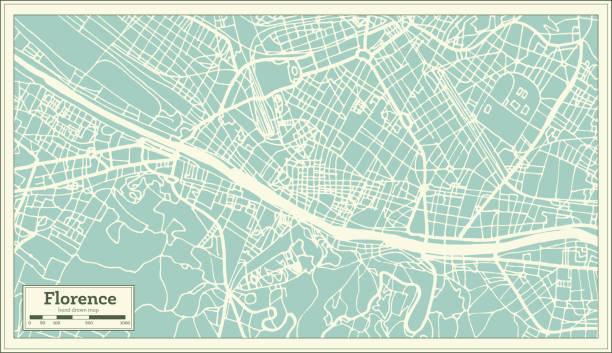illustrazioni stock, clip art, cartoni animati e icone di tendenza di florence italy city map in retro style. outline map. - firenze