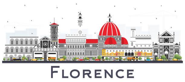 illustrazioni stock, clip art, cartoni animati e icone di tendenza di florence italy city skyline with color buildings isolated on white. - firenze