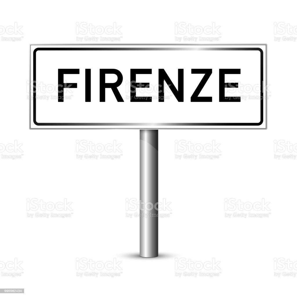 Florenz Italien Schild - Stadt Straßenschild - Beschilderung board – Vektorgrafik