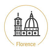 Florence, Italy Vector Line Icon with Gold Circle Isolated on White. Landmark - Emblem - Print - Label - Symbol. Cathedral of Santa Maria Pictogram. World Cities Collection.