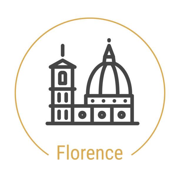 illustrazioni stock, clip art, cartoni animati e icone di tendenza di florence, italy vector line icon - firenze