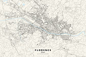 Poster Style Topographic / Road map of Florence, Italy. All maps are layered and easy to edit.