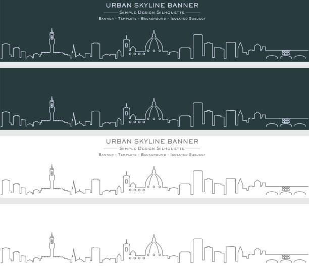 illustrazioni stock, clip art, cartoni animati e icone di tendenza di florence single line skyline banner - firenze