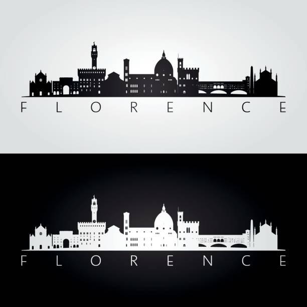 illustrazioni stock, clip art, cartoni animati e icone di tendenza di florence skyline and landmarks silhouette, black and white design, vector illustration. - firenze